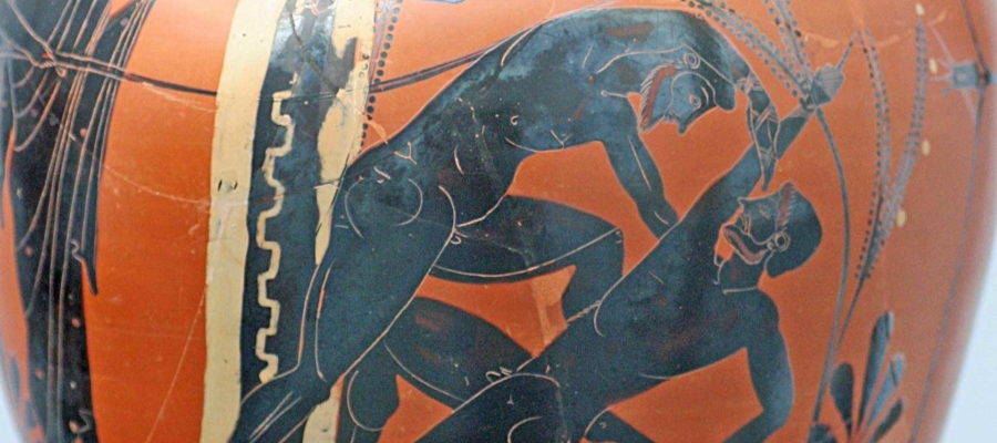 Boks na greckiej amforze z 500 roku p.n.e.